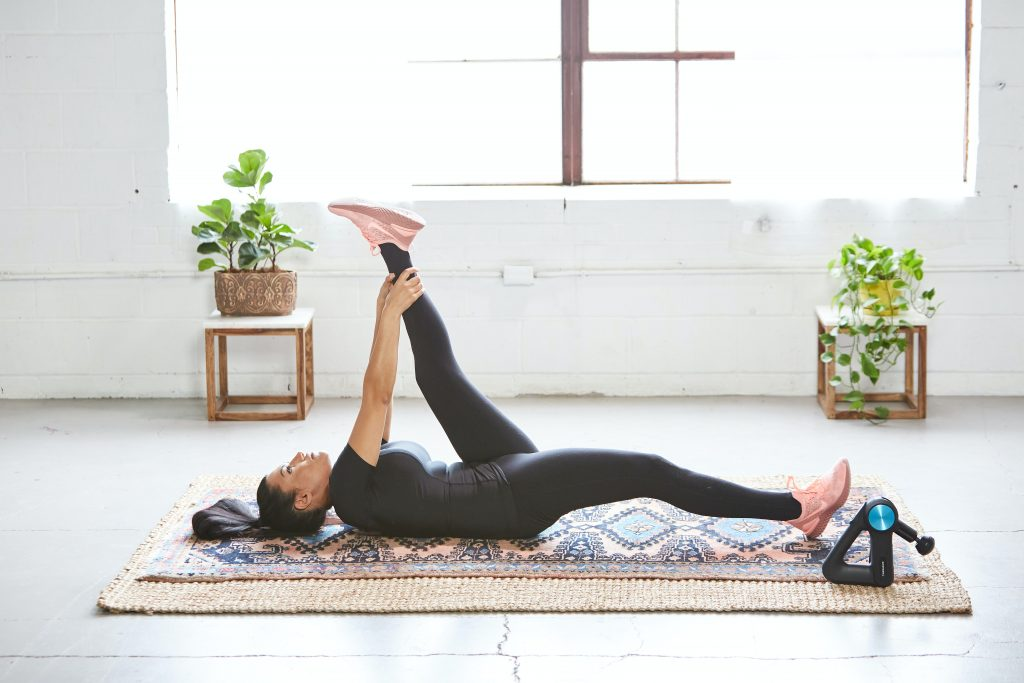 massage gun, stretching, recovery